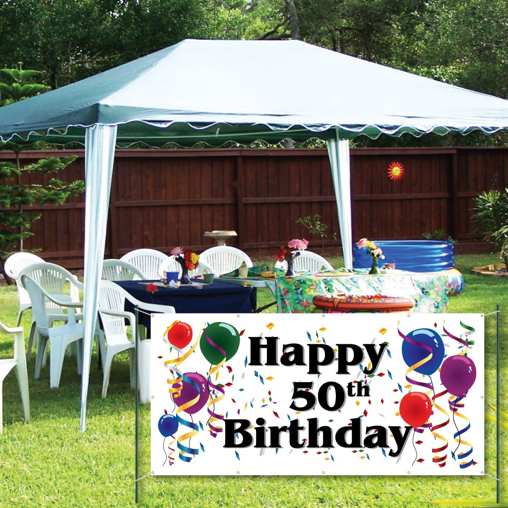VictoryStore Yard Sign Outdoor Lawn Decorations Happy 50th Birthday