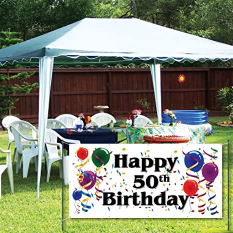 Amazon VictoryStore Yard Sign Outdoor Lawn Decorations Happy 50th Birthday 2X4 Vinyl Banner Office Products