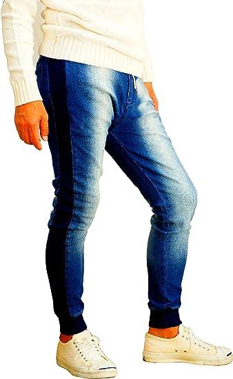 ジョガーパンツ メンズ スーパーストレッチ デニム パンツ サンドブラスト サイドリブ