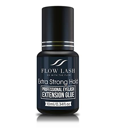 Eyelash Extension Glue – Extra Strong Hold, Professional Grade Eyelashes Black Adhesive, Formaldehyde Latex Free Lashes Supplies, Semi – Permanent Eyelash Glue by Flow Lash, 10mL