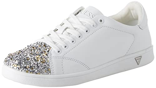 #Guess Super White Gold Womens Eco Leather Trainers Livraison Gratuite Rabais kldJx4Np