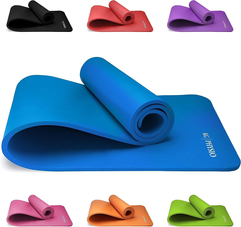 zoomingmingli Tappetino Fitness in 7 Colori 1,5 Cm Facile sulle Articolazioni Extra Spesso E Morbido Dimensioni 183 Cm X 61 Cm X 1,5 Cm Antiscivolo con Un Pratico Cordino Azzurro 15mm