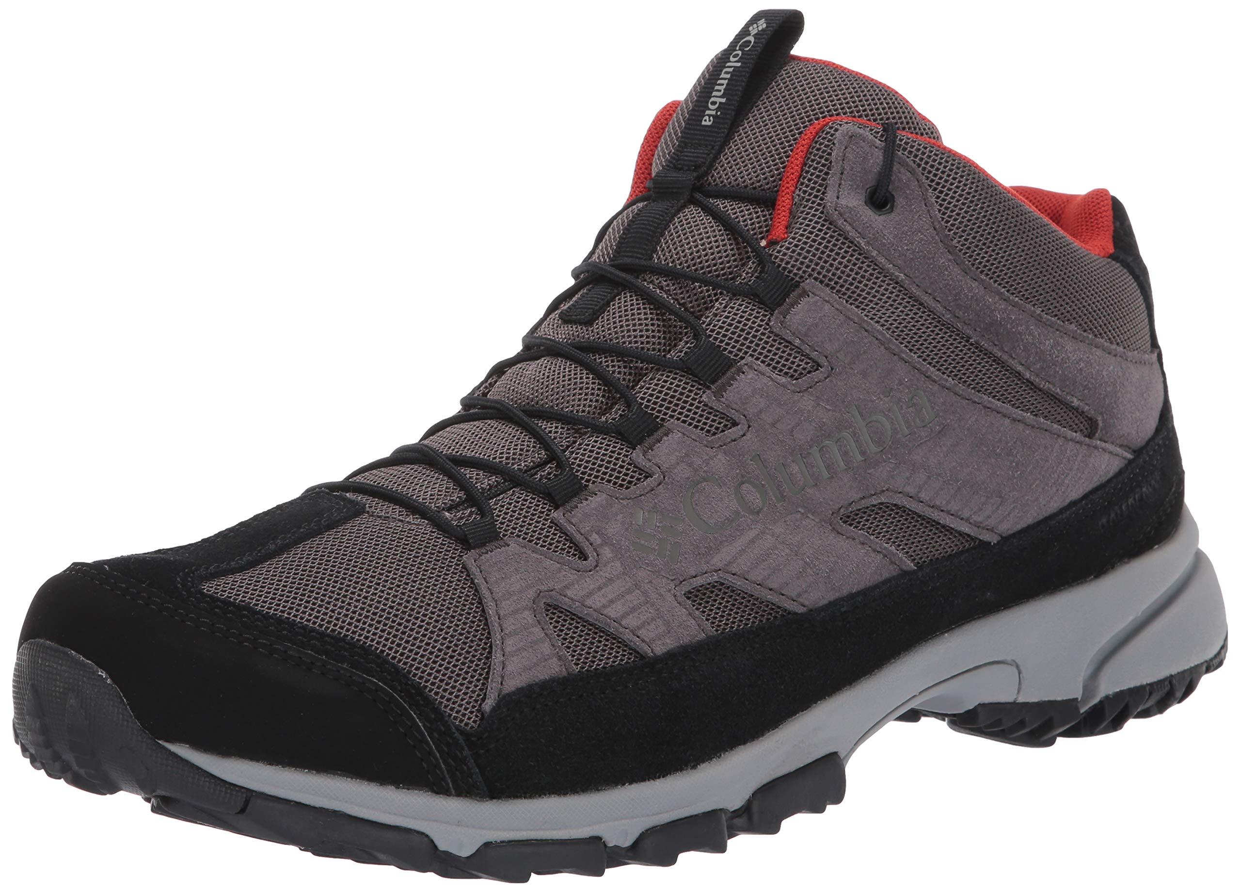 Columbia Men's Five Forks MID Waterproof Hiking Shoe, Dark Grey, Flame, 11 Regular US by Columbia