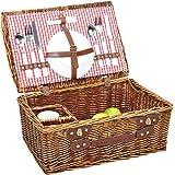 ノーブランド品 籐のピクニックバスケットは食器を含む [並行輸入品]