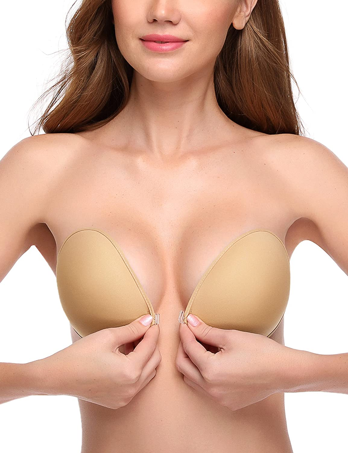 8d259f55d9 WingsLove Reusable Strapless Self Adhesive Silicone Invisible Push-up Bra  Sexy Nubra INB-A-D