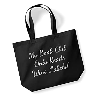 Re-usable Shopping Bag Personalised Wine Book Club Funny Canvas Shopper Tote