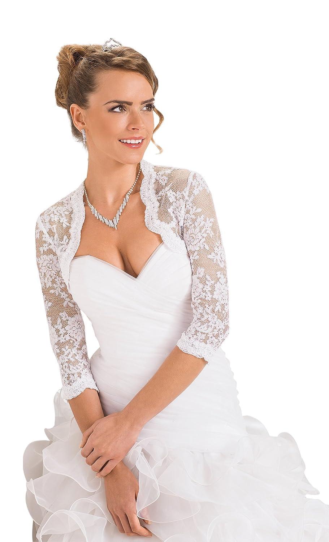 Damen Hochzeit Top Spitzen-Jacke für die Braut Spitzen Bolero ...