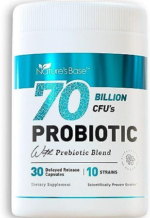 Probiotics 70 Billion CFU - Probiotics for Women, Probiotics for Men and Adults, Natural; Probiotic Supplement with Prebiotics Acidophilus Probiotic, 30 Delayed Release Caps
