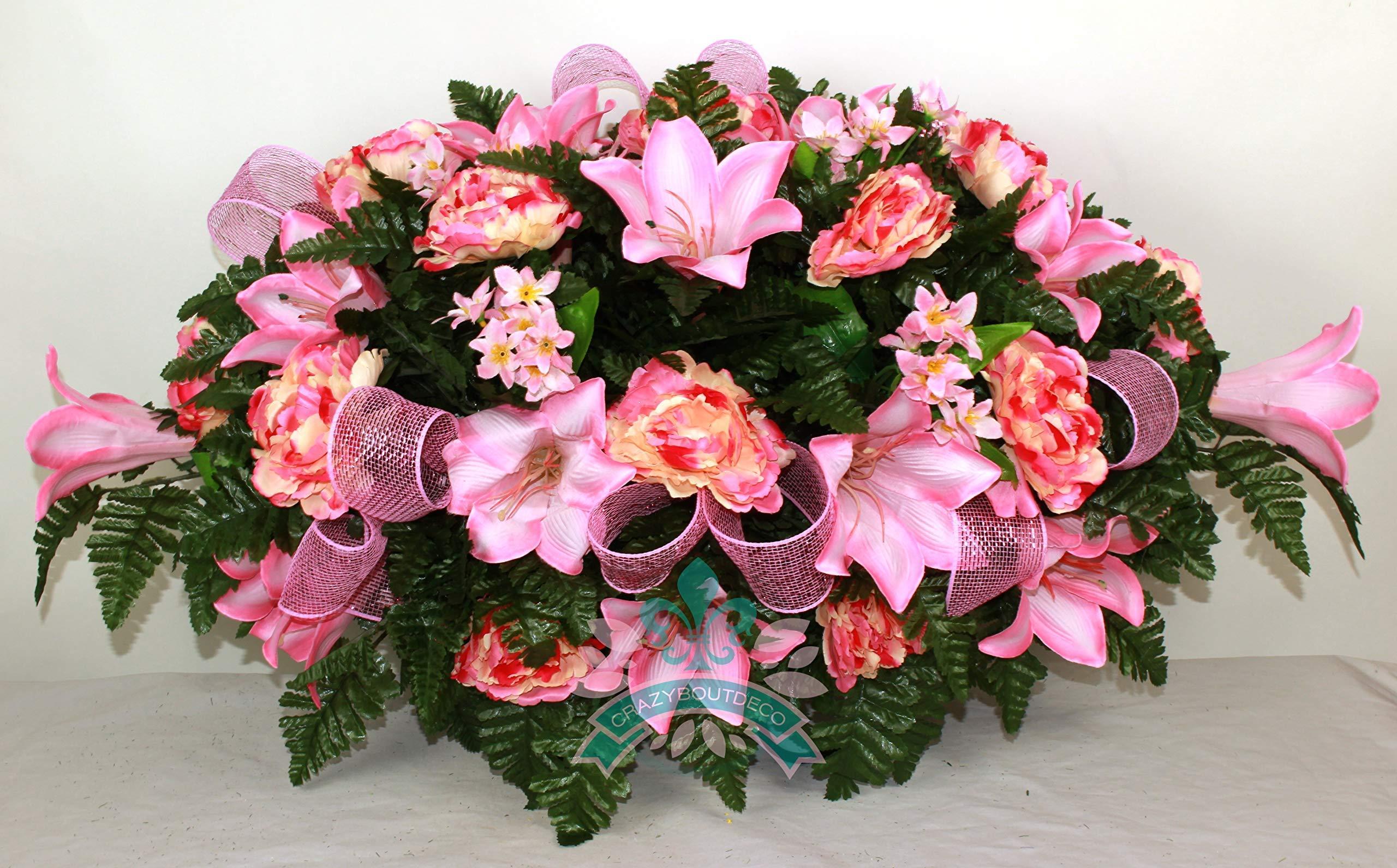 Beautiful-XL-Spring-Easter-Lilies-Cemetery-Saddle-Flower-Arrangement-