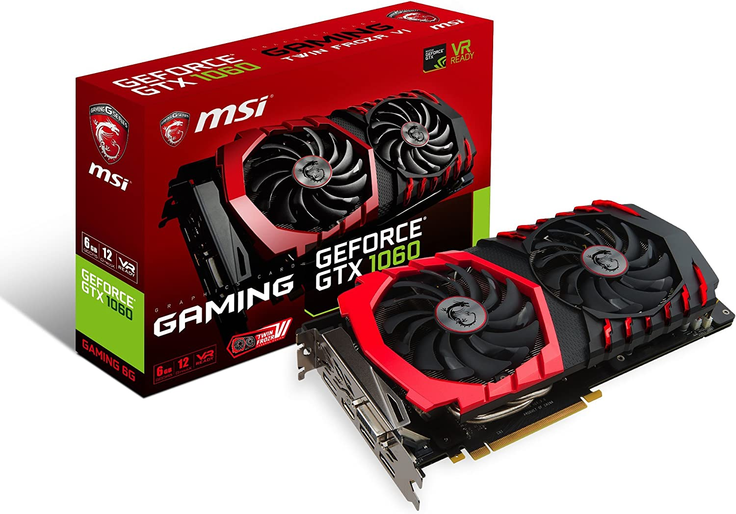 MSI GAMING GeForce GTX 1060 6GB GDRR5 192-bit HDCP Support DirectX 12 Dual TORX 2.0 Fan VR Ready Graphics Card (GTX 1060 GAMING 6G)