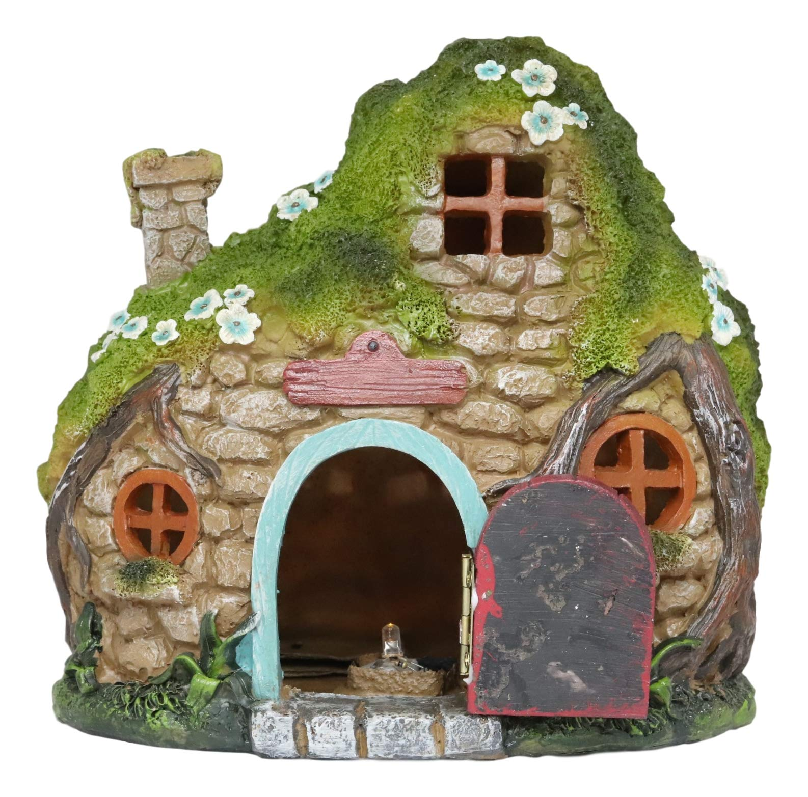 Ebros LED Light Up Miniature Enchanted Fairy Garden Cozy Stone Cottage House with Moving Door and Chimney Figurine Made of Resin Fairies Pixies DIY Mini Whimsical Display Home Decor Statue Sculpture
