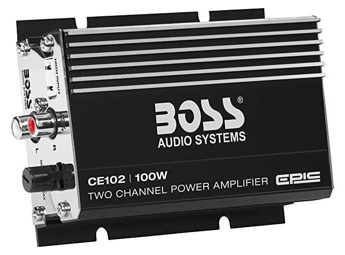 amazon com: boss audio ce102 100 watt, 2 channel, 4 ohm stable class a/b, full  range, mosfet car amplifier: boss audio: car electronics
