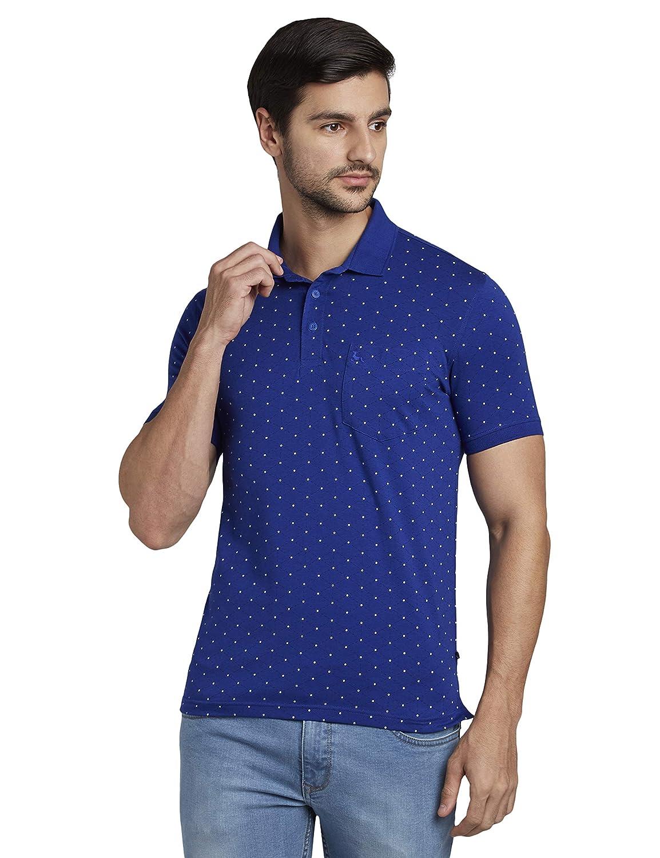 ParxPrintedBlueColouredCottonBlendT-Shirt