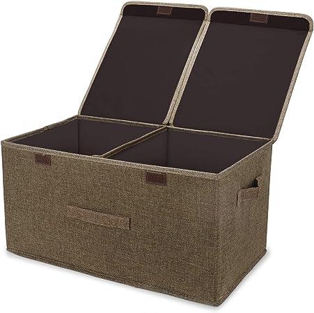 Leehui Store - Cajas de almacenamiento grandes con tapas, caja de almacenamiento de tela plegable con asas, 40 L, cestas de almacenamiento organizadoras para ropa, juguetes, libros, ropa de cama o más: