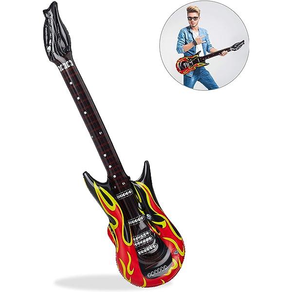 Relaxdays Guitarra Hinchable Rock, color rojo/negro, 95 cm ...