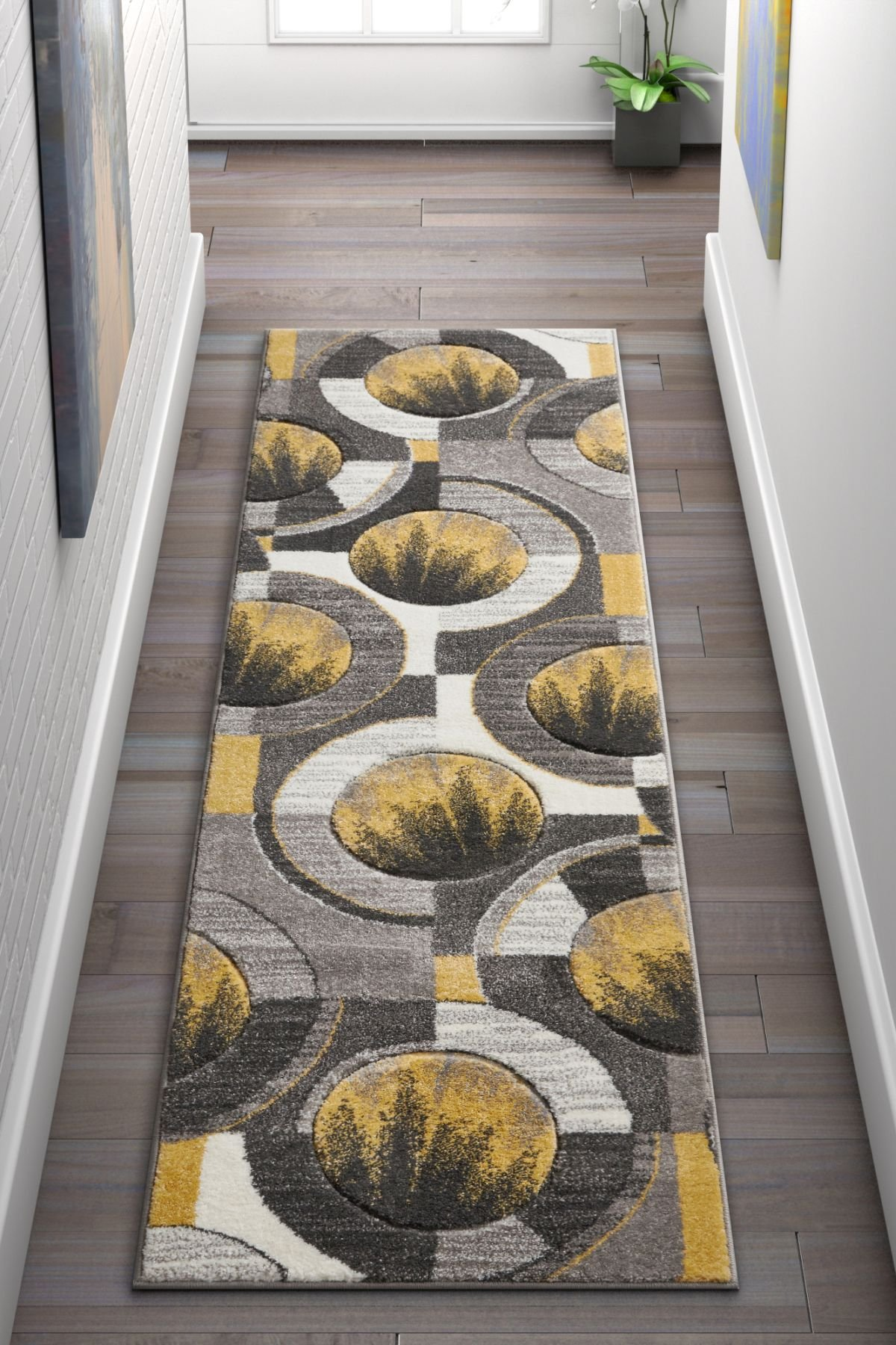 Well Woven Sunburst Blue, Light Gray, Charcoal Modern Geometric Comfy Casual Hand Carved 2x7 (2' x 7' Runner) Area Rug Easy to Clean Stain Fade Resistant Abstract Contemporary Thick Soft Plush