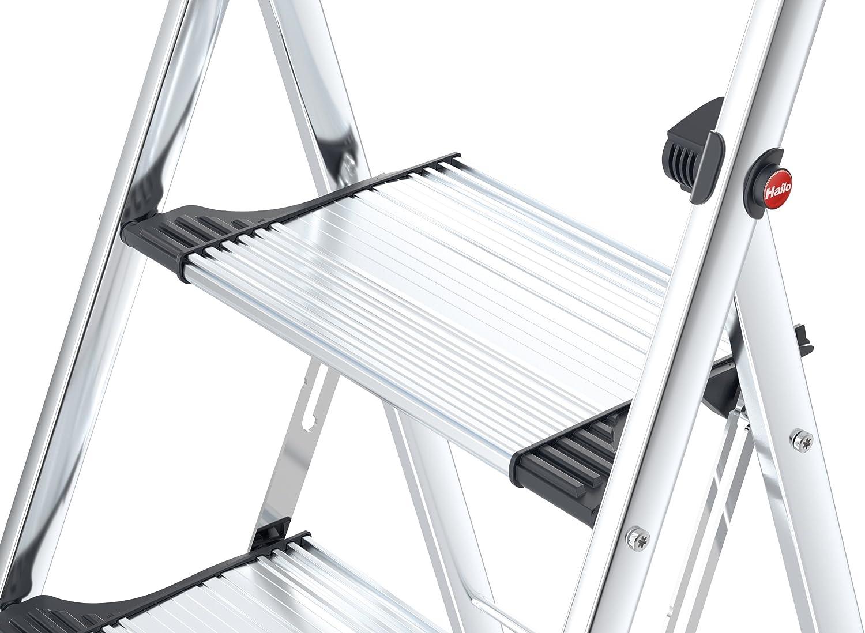 2 Stufen 4303-201 Hailo K100 TopLine Komfort-Trittleiter belastbar bis 150 kg silber hoher Sicherheitshalteb/ügel F/ü/ße mit Soft-Grip-Sohlen