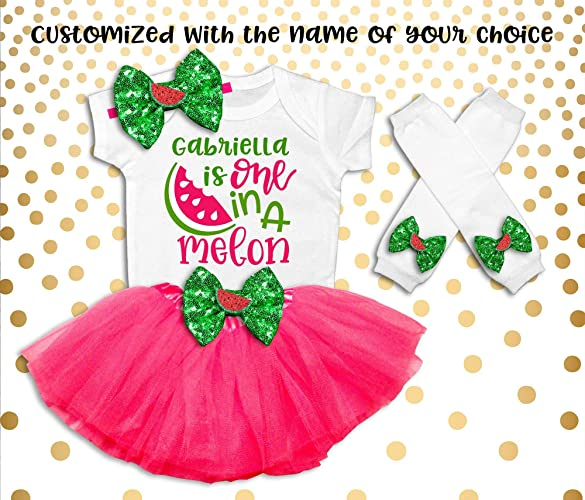 069a596d5f Amazon.com: One In A Melon First Birthday Outfit Girl One In A Melon ...