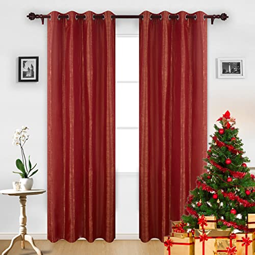 Deconovo Decorative Grommet Thermal Insulated Curtains Jacquard Window Drapes for Bedroom Tangerine, 52×84 Inch, Orange and Red
