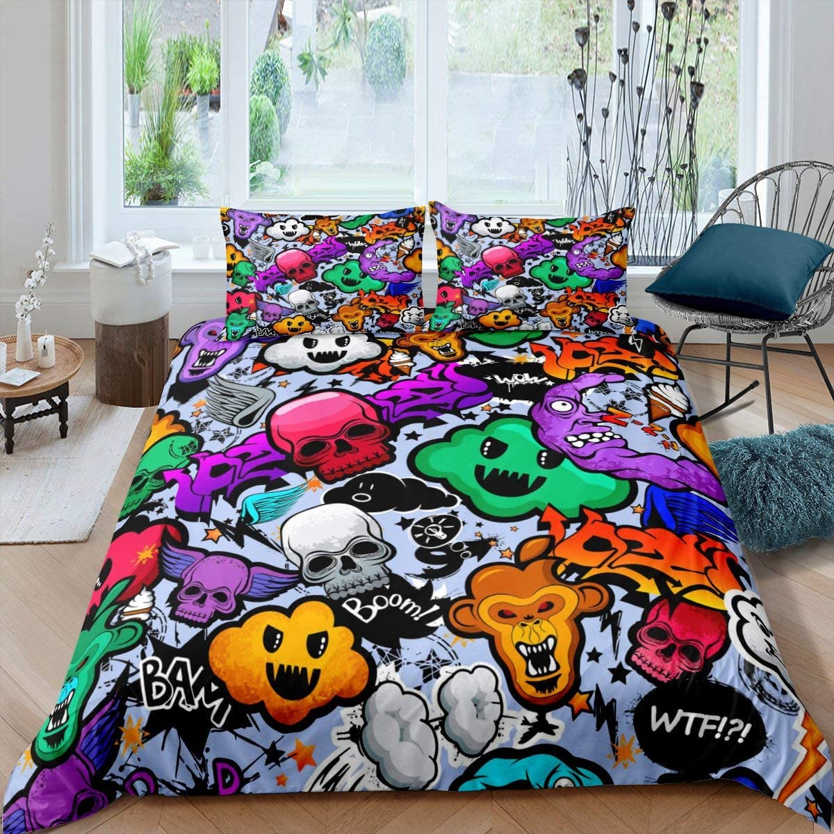 Hip-Hop Bedding Set Queen Size for Teens Boys Gothic Skull Decor Comforter Cover Graffiti Hippie Style Duvet Cover Happy Halloween Theme Ghost Pattern Skeleton Bedspread Trick and Treat Quilt Set
