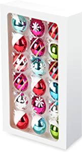 Costyleen Christmas Decoration Colorful Glass Balls Ornaments Set Festival Home Party Decors Xmas Tree Hanging Pendant Floral Printings 18pc Small Bright Multi-Colors 1.8in