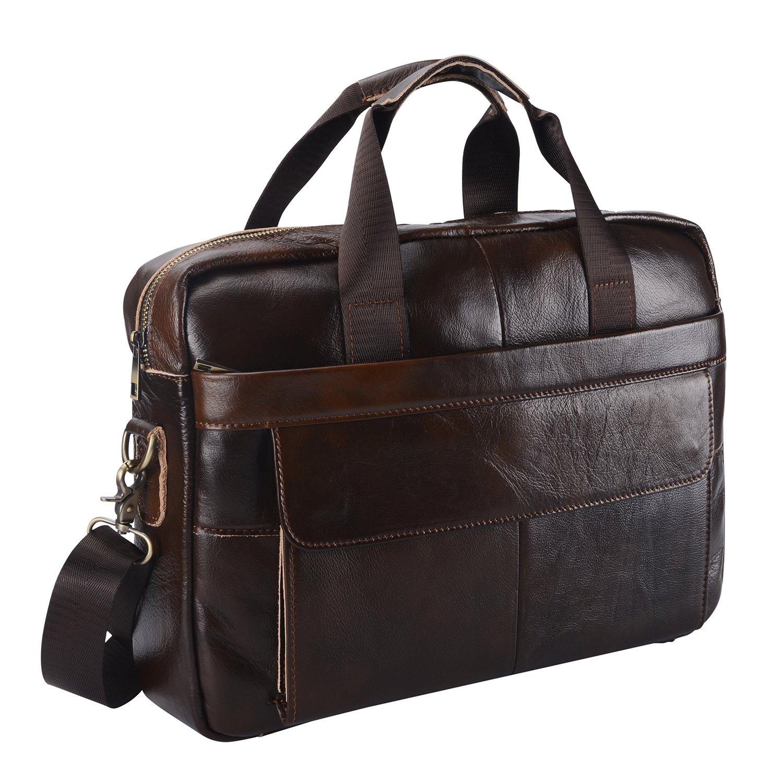 Leather Briefcase Laptop Bag Messenger Shoulder Work Bag Crossbody Handbag for Business Travelling (BFC-Brown)