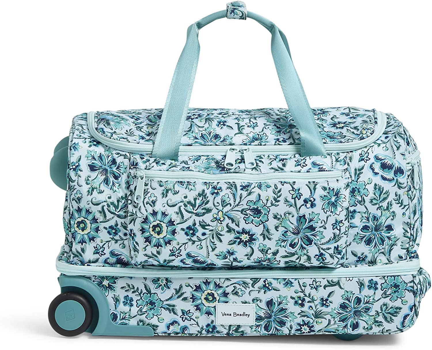 Vera Bradley Women's Recycled Lighten Up ReActive Foldable Rolling Duffle Luggage