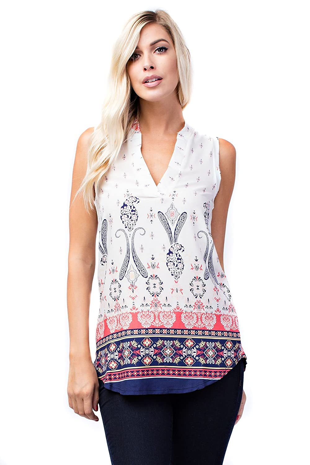 B7084 Ivory Navy Coral Allora Betsy Red Couture Women's Soft Knit Sleeveless Notch Neck Tunic Top