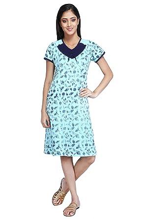 41dad89a1f MUSE Short Nighty Cotton Sinker Hosiery for Women - Free Size -  Nightwear Summer wear Nightdress Half Sleeve - Green (Floral Design)   Amazon.in  Clothing   ...