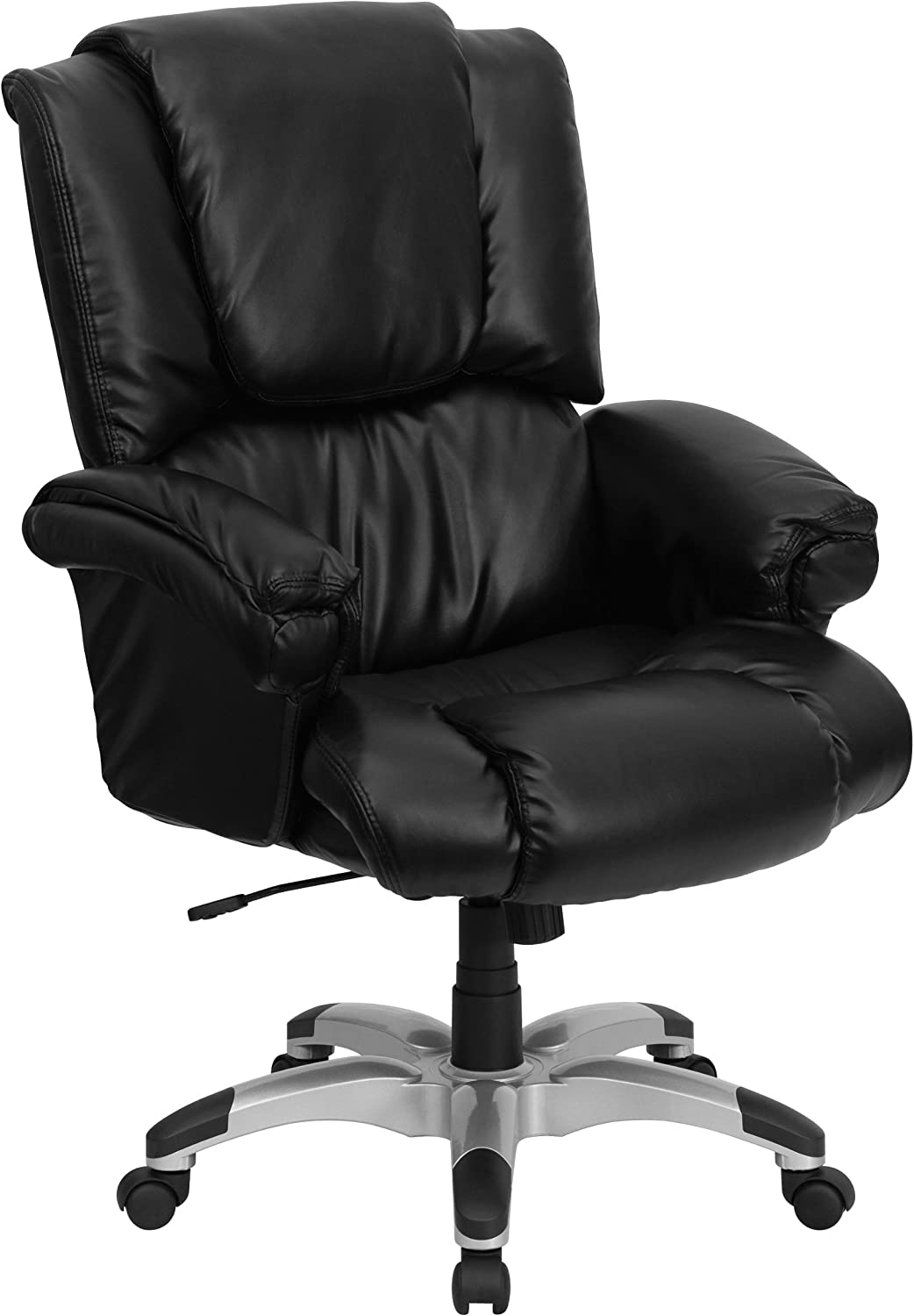 Flash Furniture High Back Black LeatherSoft OverStuffed Executive Swivel Ergonomic Office Chair with Fully Upholstered Arms