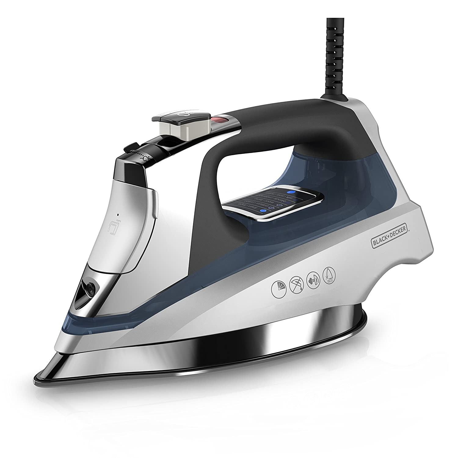 BLACK+DECKER Allure Digital Steam Iron, Silver/Blue, D3040 Black & Decker