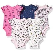 Rosie Pope Girls Baby 5 Pack Bodysuits, School Theme, 3-6 Months