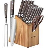 Knife Set, 16-Piece Kitchen Knife Set with Carving Fork, Precious Wengewood Handle for Chef Knife Set with Block, German Stai