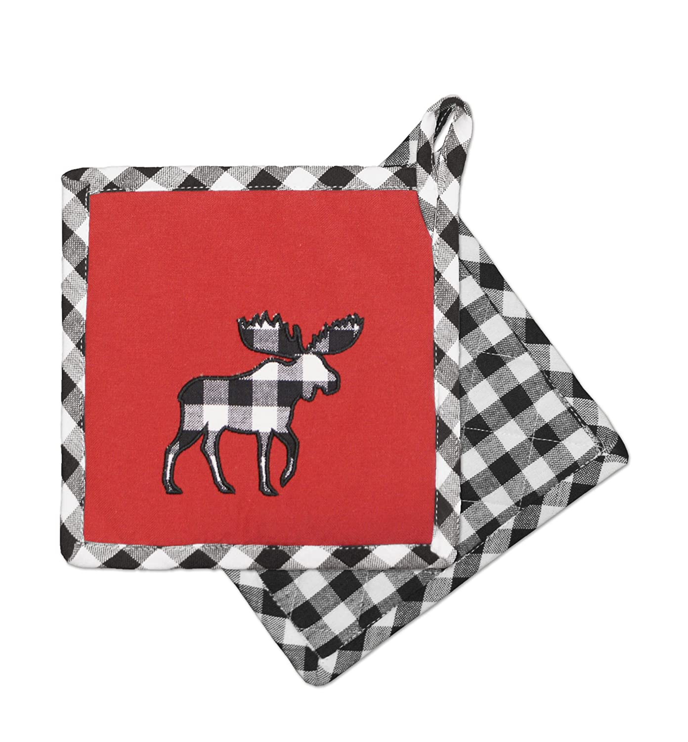 Hotel 77520 Moose Pair of Pot Holders-Blk/Wht, 8x8, Black White, 2 Piece Domay Inc.