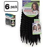 "6 Pack of Janet Collection Havana Medium Mambo Twist Braid 12"" Color 1 (Jet Black)"
