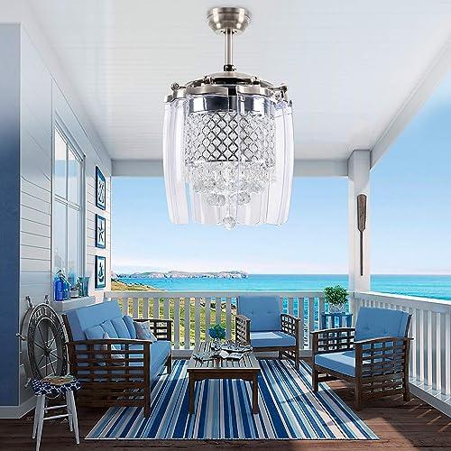 LuxureFan Modern Crystal Ceiling Fan Light