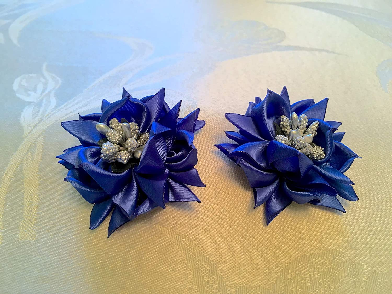 Christmas Royal Blue Flower Poinsettia Satin Flowers Brooch Pins