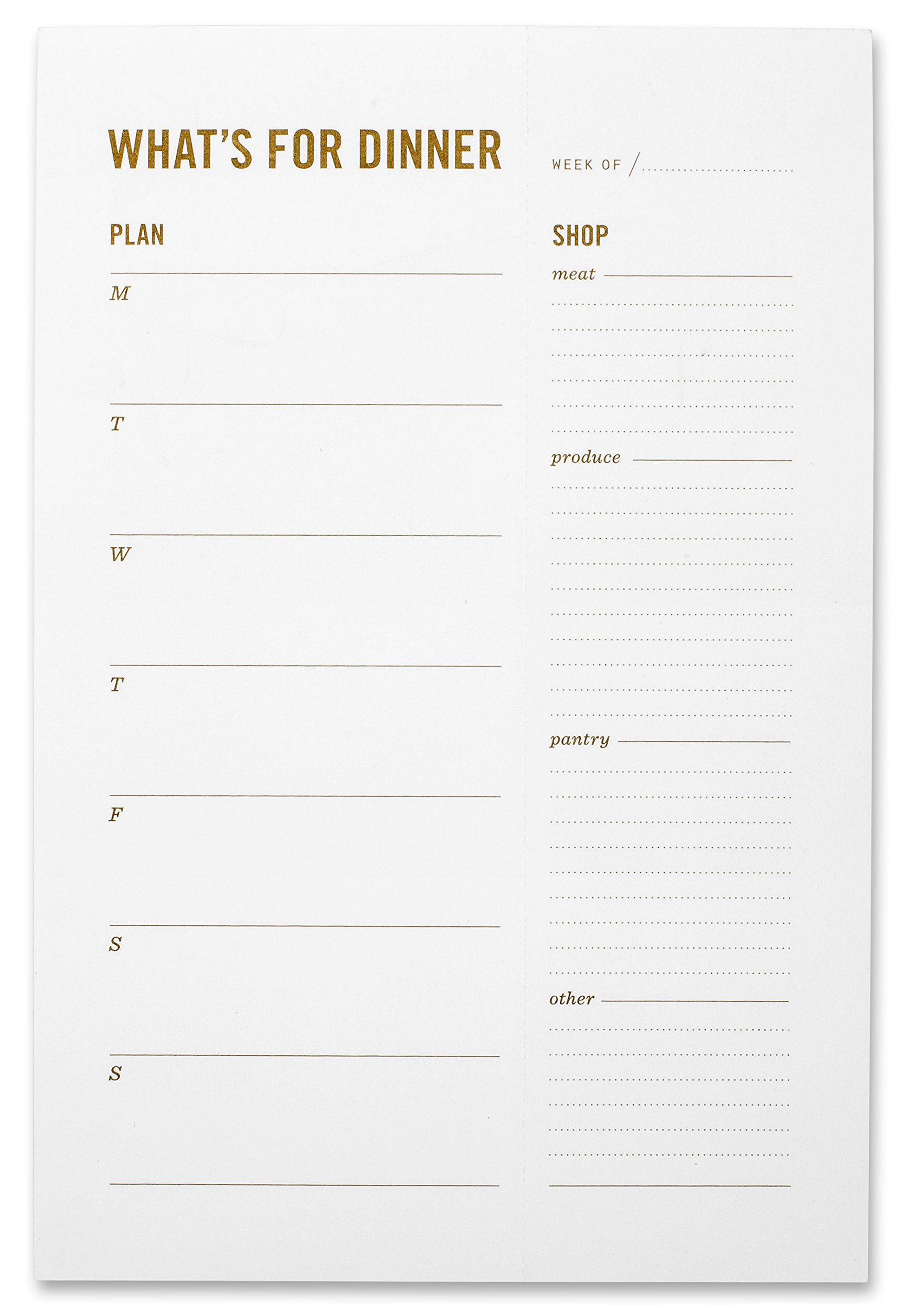 What's for Dinner Magnetic Meal Planning Grocery List Notepad - Weekly Family Meal Planner with Perforated, Tear Off Food Shopping List & Fridge Magnet - 6 x 9''