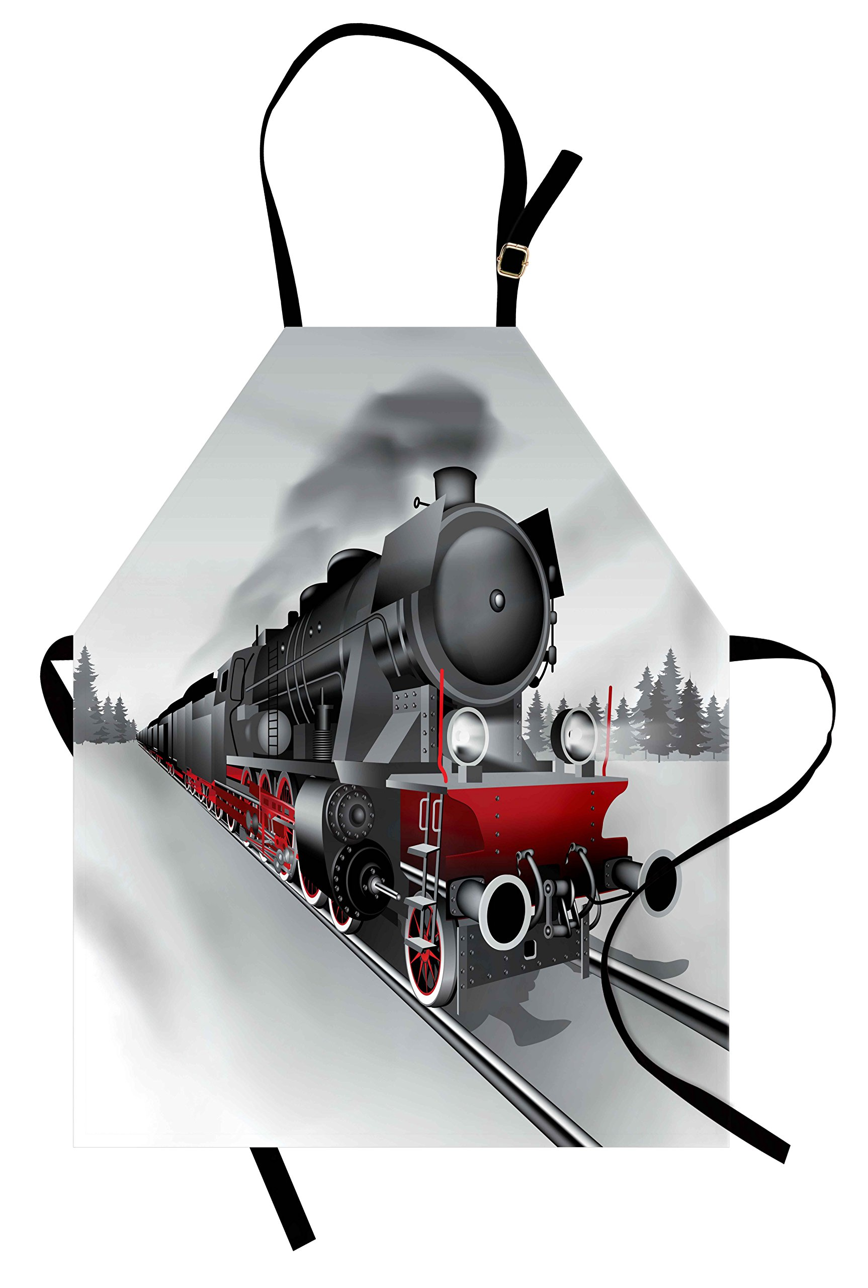 Ambesonne Steam Engine Apron, Locomotive Red Black Train on Steel Railway Track Travel Adventure Graphic Print, Unisex Kitchen Bib Apron with Adjustable Neck for Cooking Baking Gardening, Red Grey