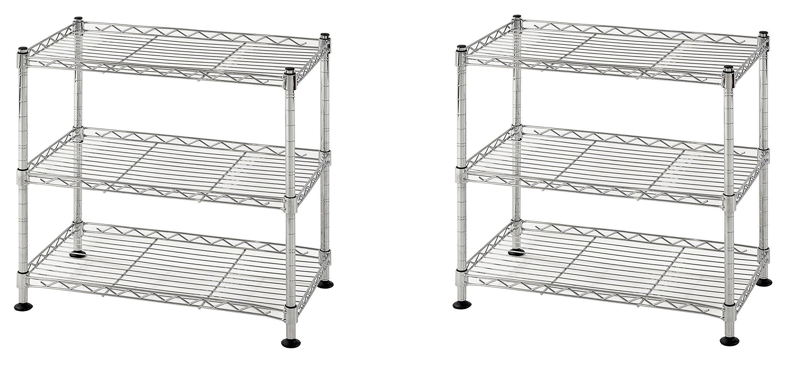 Muscle Rack WS181018-C Steel Adjustable Wire Shelving, 3 Shelves, Chrome, 18'' Height, 18'' width, 264 lb. Load Capacity (.2 PACK)