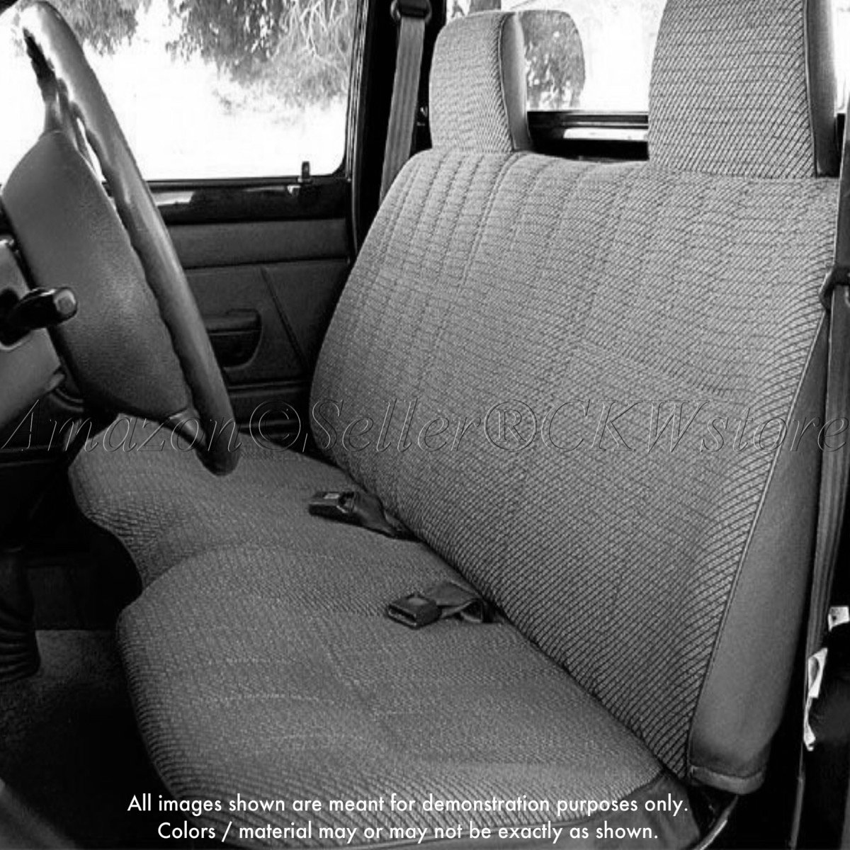 Amazon A25 Toyota Pickup Front Solid Bench Gray Seat Covers Triple Stitched With 8mm Extra Thick Padding Molded Headrests Belt Cutout