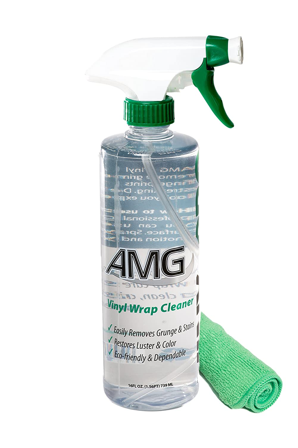 AMG Vinyl Pro Cleaner, Clean and Restore all Vinyl, Rubber, Plastic, Leather, Fiberglass Surfaces, Non-Toxic, with Green Microfiber Towel - Pro Cleaning Kit 16 fl. oz All Mighty Green