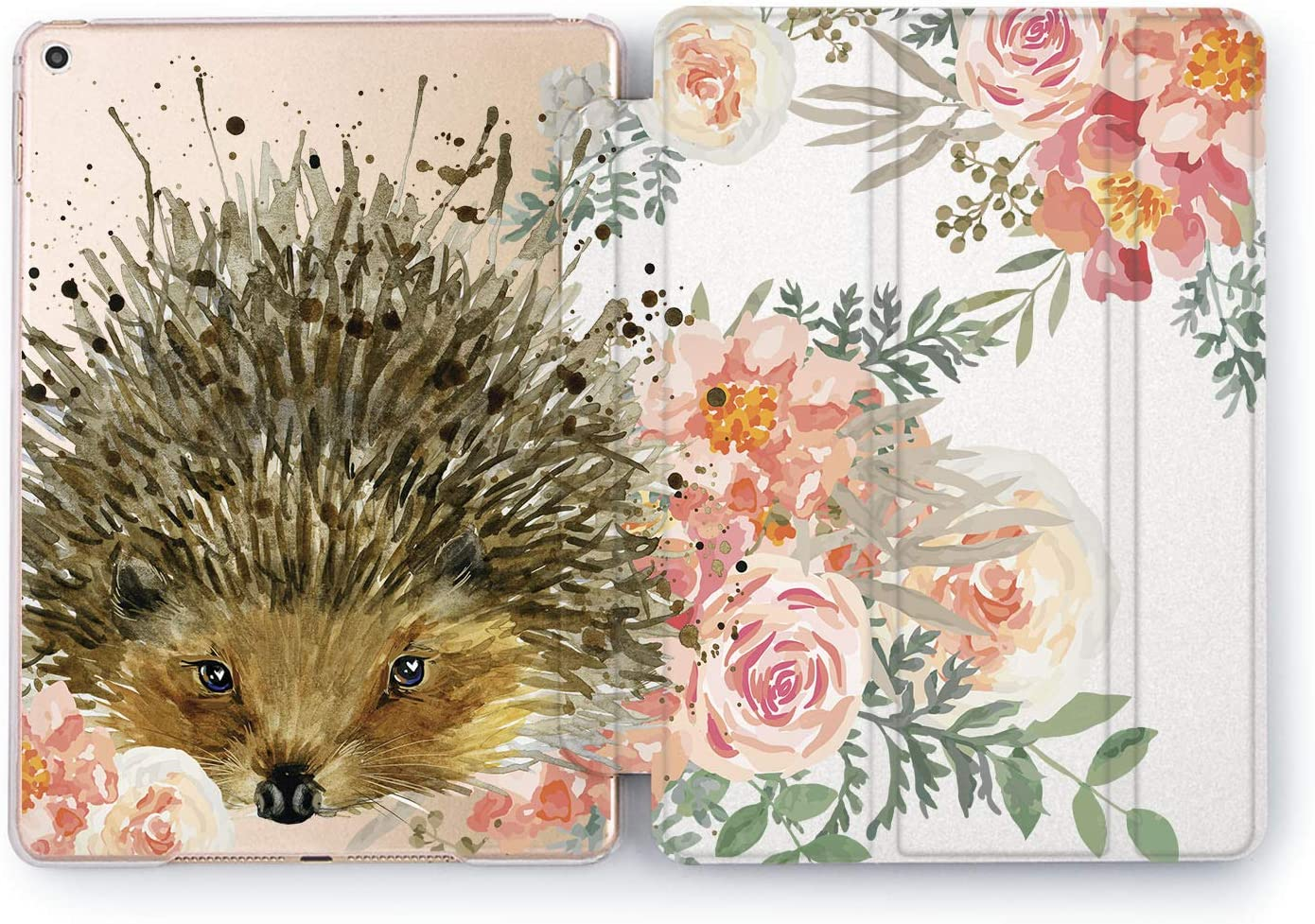 Wonder Wild Case Compatible with Apple iPad Floral Hedgehog 9.7 Pro inch Mini 1 2 3 4 Air 2 10.5 12.9 11 10.2 5th 6th Gen Hard Cover Animals Flowers Peonies Rose Petal Cute Adorable Girly Style