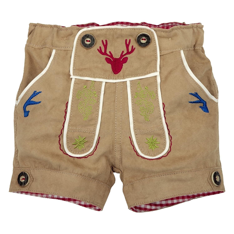 BONDI Lederhosen Short ´Gipfelkraxler´ Beige Gr. 74 - Fesche kurze Trachten Hose aus Kunstleder vom Markenhersteller BONDI Kidswear für Jungen