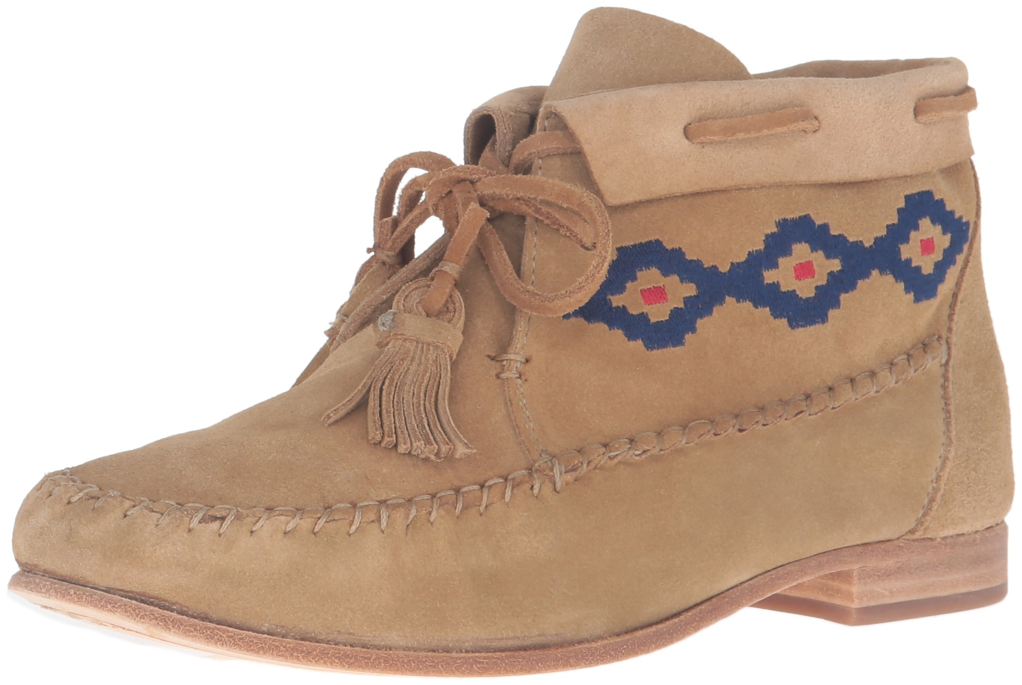 Soludos Women's Moccasin Emroidered Ankle Bootie, Stone, 9 M US