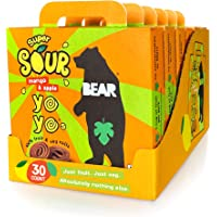 BEAR Sour - Real Fruit Yoyos - Mango - 0.7 Ounce (30 Count) - No added Sugar, All Natural, non GMO, Gluten Free, Vegan - Healthy on-the-go snack for kids & adults