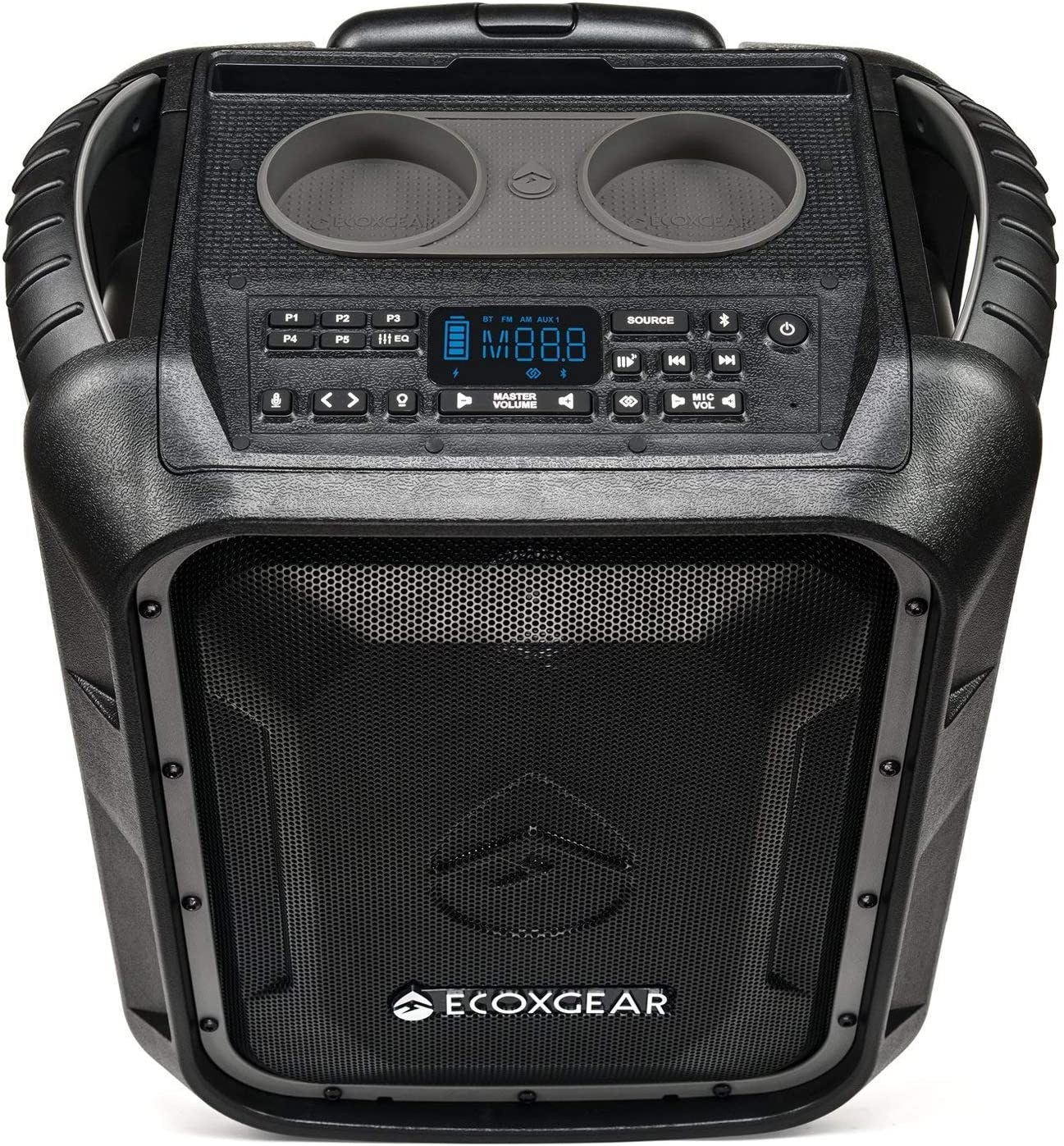 ECOXGEAR EcoBoulder+ GDI-EXBLD8 Rugged Waterproof Floating Portable  Bluetooth Wireless 8 Watt Speaker and PA System (Gray)