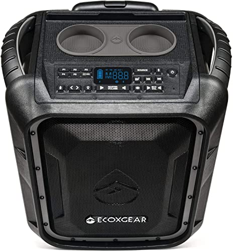 ECOXGEAR EcoBoulder GDI-EXBLD810 Rugged Waterproof Floating Portable Bluetooth Wireless 100 Watt Speaker and PA System Gray