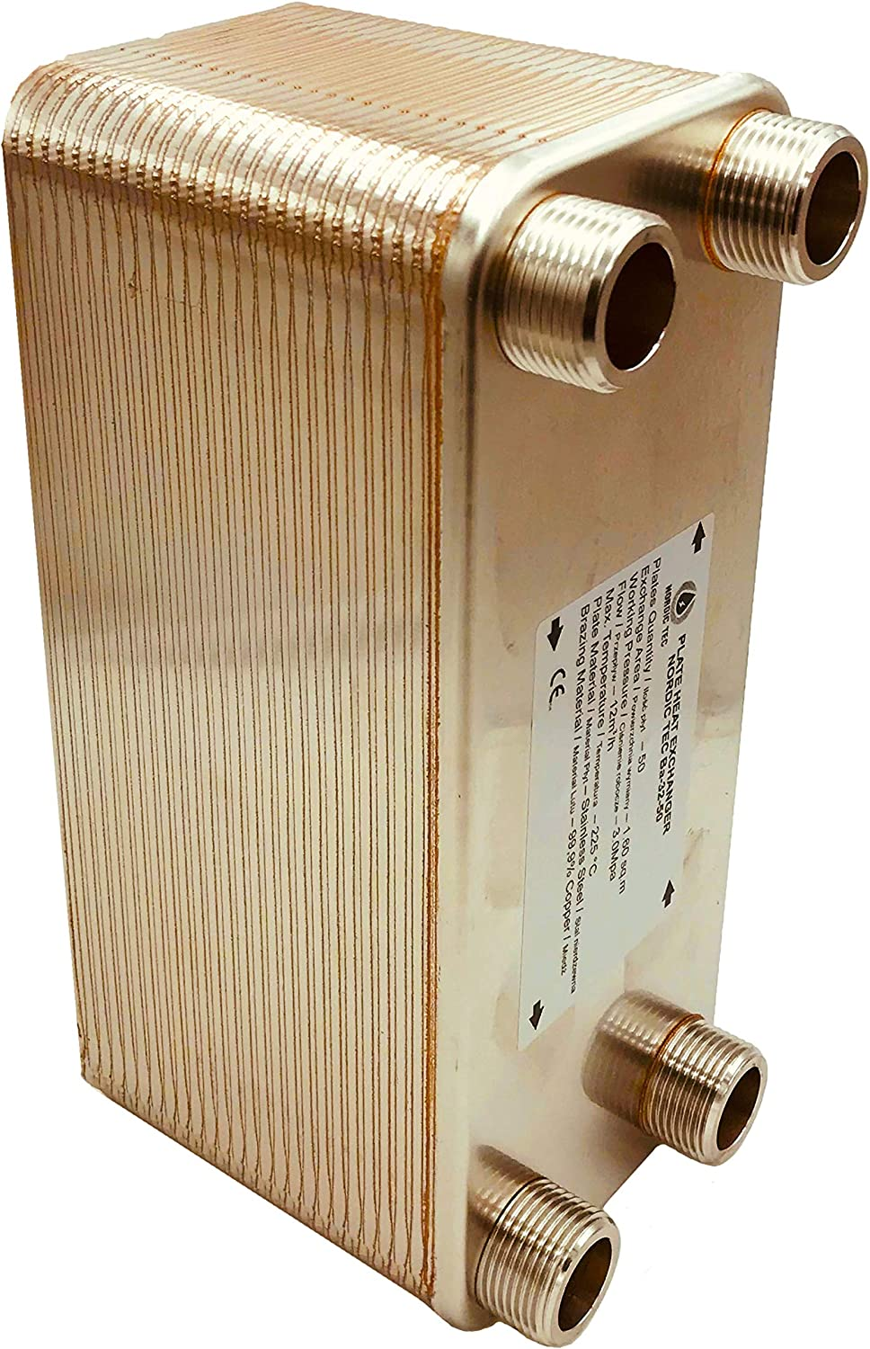 Nordic Tec Ba-32-50 Stainless Steel Plate Heat Exchanger 50 Plates 285 kW 1 Inch
