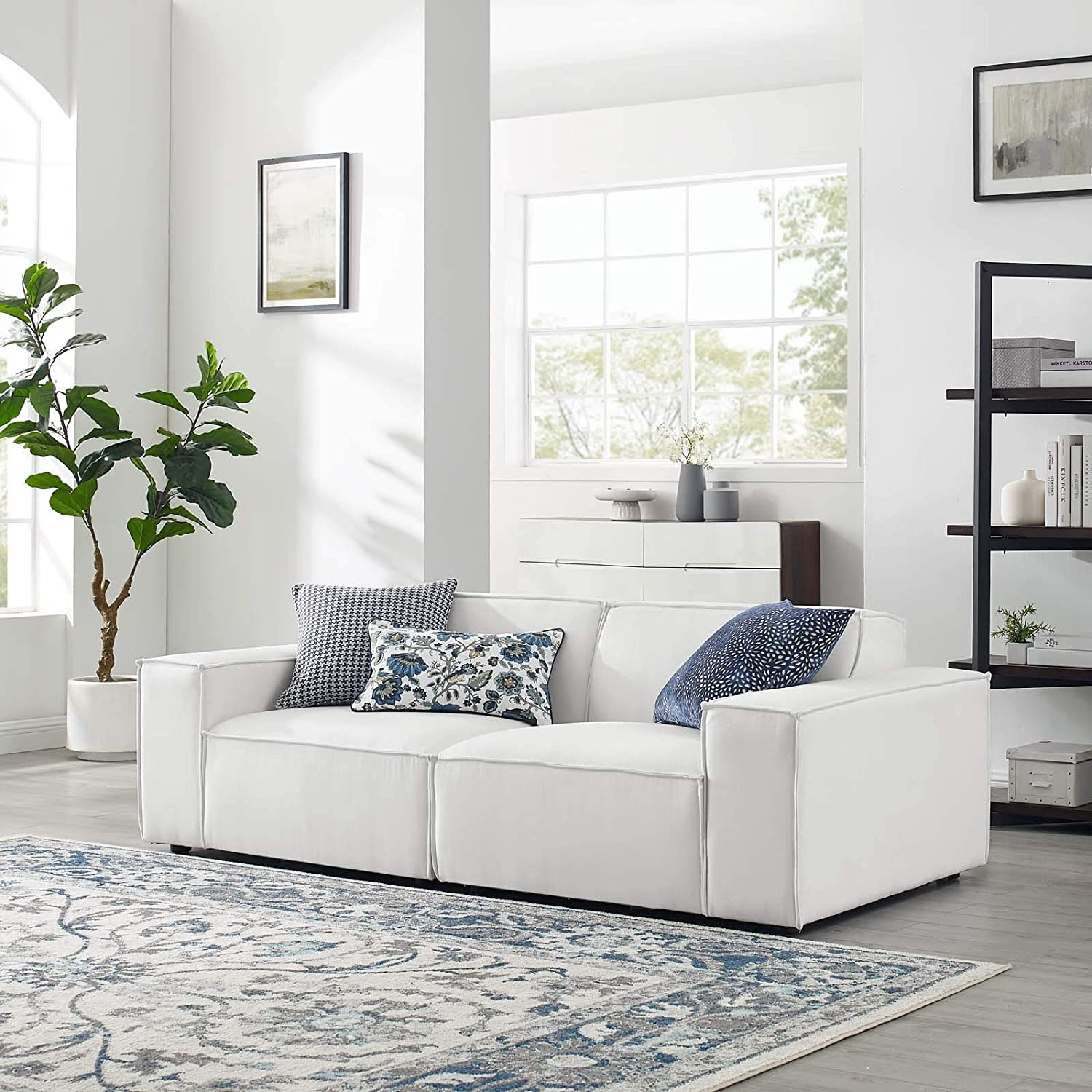 Modway Restore 2-Piece Upholstered Sectional Sofa in White